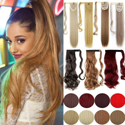 Real Thick Clip In Ponytail Clip On Hair Extensions Woman Long Straight AU HB50