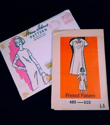 Vintage Anne Adams Mail Order Sewing Pattern 4915 Short Sleeve Dress Size 14