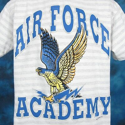 vintage 90s US AIR FORCE ACADEMY FALCONS STRIPED T-Shirt LARGE usaf military