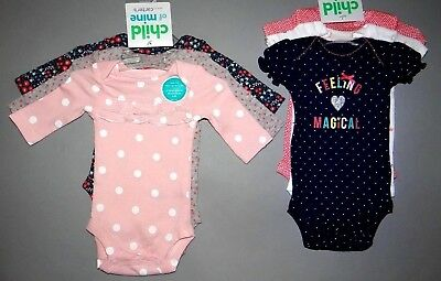 Baby girl clothes, 3-6 months, Child of Mine by Carter's 2 sets of 3 bodysuits