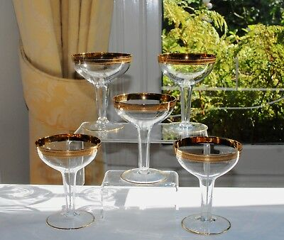 Set of 5 Vintage Champagne Coupes/Sherbets Hollow Stem - Gilt Bands 11.5cm/150ml