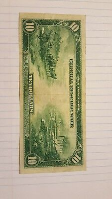 1914 $10 Ten Dollar Blue Seal Large Size Federal Reserve Currency Note Bill
