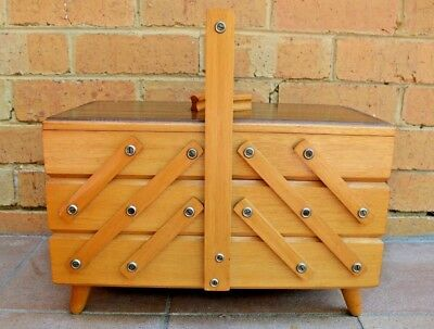 Vintage Cantilever Accordion Fold Out Wooden Sewing Storage Box Retro
