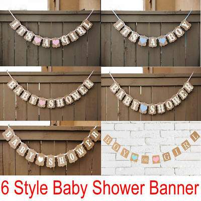 Baby Shower Bunting Banner It's A Boy/Girl Garland Photo Props Party Decor Sign