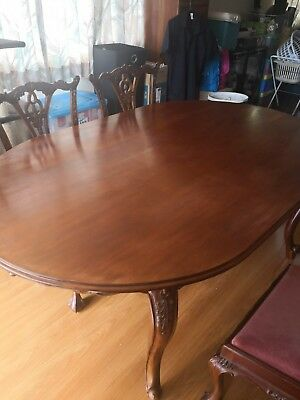 7 pieces solid timber dining table, handcrafted.