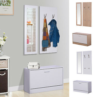 3-In-1 Hallway Furniture Set Coat Rack Mirror Shoes Cabinet Storage Organiser