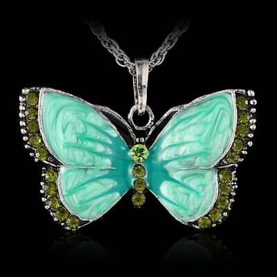 Women Charm Silver Plated Green Buttlefly Pendant Necklace Sweater Chain Jewelry