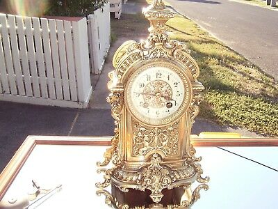 Beautiful Antique French Ornate Brass Mantel Clock, Excellent Condition