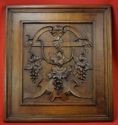 Antique French Hand Carved Walnut Wood Wall Panel Door of Wine Bunch of Grapes
