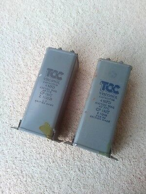 2 Capacitors PIO TCC made 1950's 4 uf 4 mfd tested good NON TERMINAL END mount