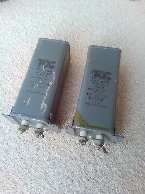 2 Capacitors PIO TCC made 1950's 4 uf 4 mfd tested good Terminal end mount (pr2)