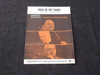 This Is My Song, Sheet Music by Charles Chaplin, Free Postage