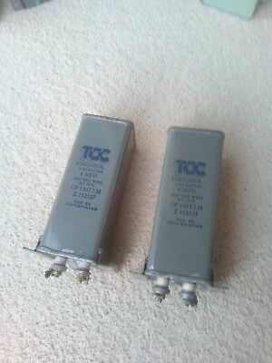 2 Capacitors PIO TCC made 1950's 4 uf 4 mfd tested good Terminal end mount (pr1)