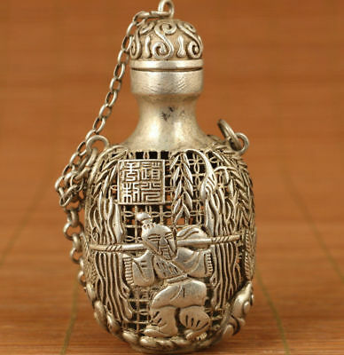 ancient Tibet Silver Handmade Carved Buddha tree Statue Hollow Snuff Bottle
