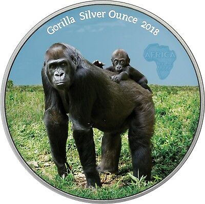 Kongo 1000 Francs 2018 Gorilla mit Baby Antique Finish Silver Ounce in Farbe