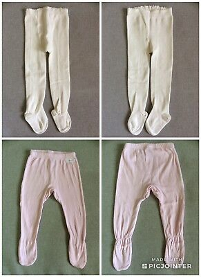 AS NEW Marquise Cream Tights 6-12m + EUC Bonds Pink Leggings Size 0