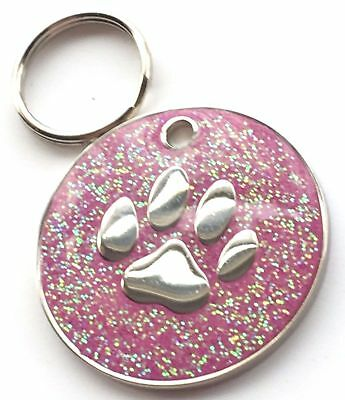 Personalised Engraved Pink Glitter Paw Print - Dog/Cat Pet ID Tag 26mm