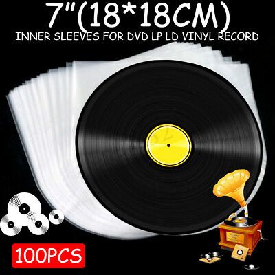 100Pcs 7'' Plastic LP LD Music Vinyl Record Antistatic Clear Cover Inner Sleeves