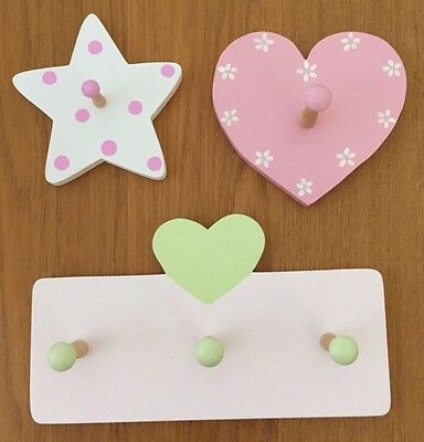 Girls Room/Nursery Decor Wall Hanging Hooks Pink White Purple Green Hand Painted