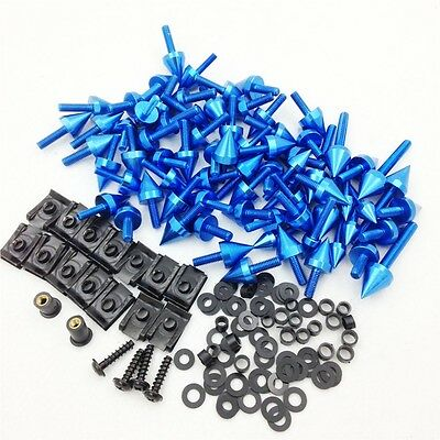 Universal Spike Fairing Bolts kit Sportbike Pack For Yamaha YZF R1 R6 R6S Blue