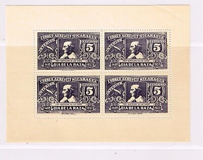 Nicaragua, 1937 5 cents Interior airmail miniature sheet, unmounted mint.