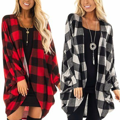 Womens Ladies Long Sleeve Plaid Cardigan Outwear Coat Tops Causal BOHO Blouse