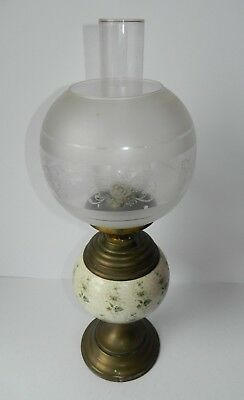 Antique Oil Lamp Brass with Ceramic & Etched Glass Shade