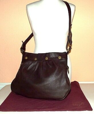 MULBERRY Mitzy - Chocolate Brown Soft Grain Leather Crossbody Hobo Bag AUTHENTIC