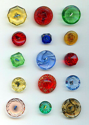 "15 COLORED TRANSPARENT GLASS buttons--SHAPES--COLORS--3/4"" to 7/16"""