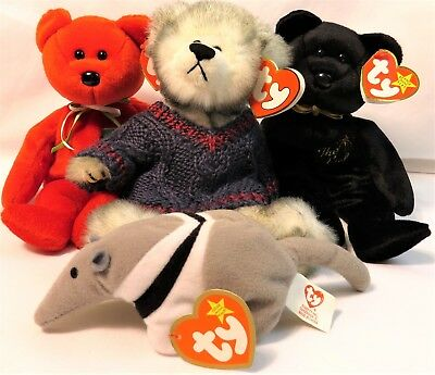 4f513f5ecc4 Lot of 4 Ty Beanie Babies Plush Stuffed Animals Mint Condition Retired
