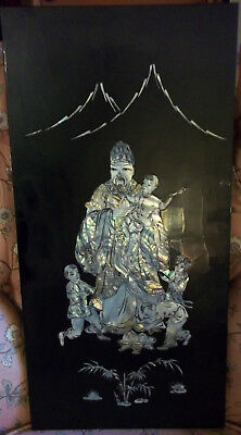 Black Enamel Panel with Inlaid Abolone - Man with Children, Mountains, Bamboo