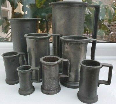 Wonderful Collection of 8 Antique French Pewter Mugs