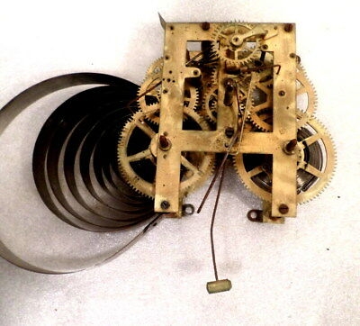 8 Day Waterbury Shelf Clock Movement For Parts or Replacement