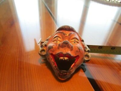 Antique Cast Iron Orig. Doubled Eyed-Buck Tooth Face Wall Mount Bottle Opener #k