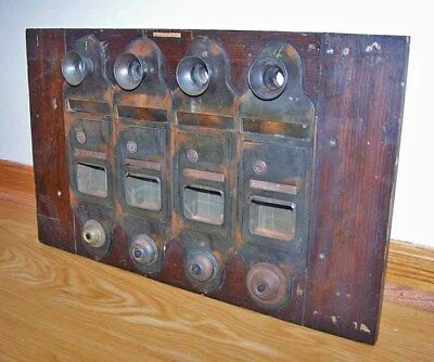 Antique Building Apartment Mailbox, Buzzer & Call Tube Wall Unit ~ Brass & Wood