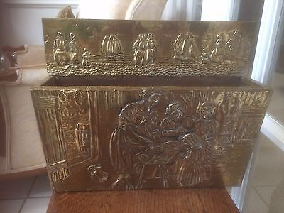 "Antique Vintage Embossed English Brass Hanging Letter Paper Holder ""social Scene"