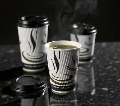 * 8oz Weave Paper Coffee Cups Kraft Ripple 3 Ply with or without lids 25-500