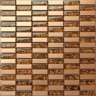 Amber Glass & Brushed Copper effect Stainless Steel Mosaic Tiles 0104