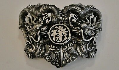 Superb Quality Antique Chinese Export Silver Belt Buckle 5-Claw Dragon Qing 1890