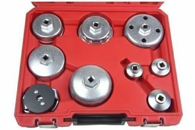 BERGEN 9 Piece Oil Filter Cap Socket Wrench Removal Cup Tool Kit Set 3030