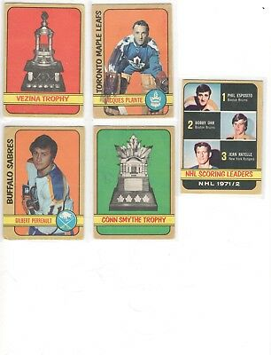 1972-73 OPC 5 damaged cards lot with stars. Perrault, Plante, Orr.  O-Pee-Chee