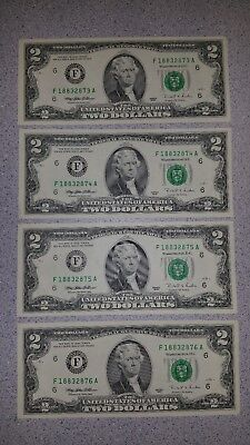 Two Dollar bills $2 Crisp/Clean ~ 1995 Series ~ 4 in Sequential numbers