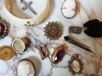 Job Lot Antique Vintage Jewellery Gold Earrings Victorian Silver Cameo's Etc