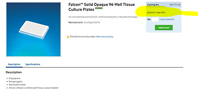 Falcon 353296 White Opaque Tissue Culture Plate 96 Well Flat Bottom 50/cs [Z3S3]