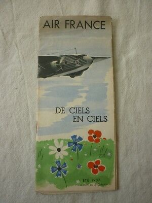 ancienne publicité AIR FRANCE de 1937 illustration Hervé Baille avion aviation