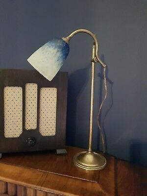 French Art Deco Rise And Fall  Desk/ Table Lamp Circa 1920/30 Original Shade.