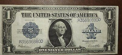 1923 $1 One Dollar Silver Certificate = NICE SHARP Large Currency Dollar Bill