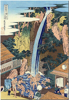 Roben waterfall Japan by Hokusai Japanese Canvas Print Poster 8X12""