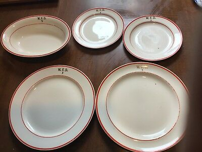 Antique Homer Laughlin Fire Department Dish Set WFD # 3