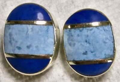 Vintage Sterling Silver Lapis & Turquoise Inlaid Inlay Clip Earrings Mexico